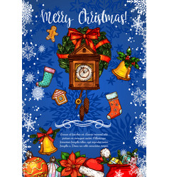 merry christmas clock sketch greeting card vector image