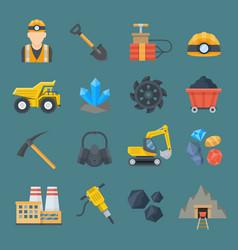 minig industry flat icon set vector image vector image
