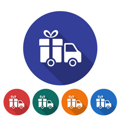 round icon of delivery car flat style with long vector image