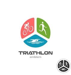Triathlon sport logo Cyclist running and swimming vector image