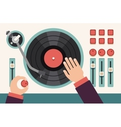 Turntable with dj hands Modern music flat vector image vector image