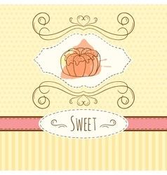Pastry hand drawn card with vector image