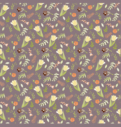 elegant seamless pattern with tulips and wild vector image vector image