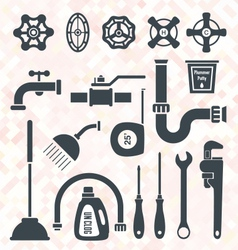 Plumbing Service Objects and Tools vector image vector image