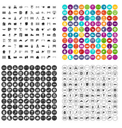 100 fence icons set variant vector image