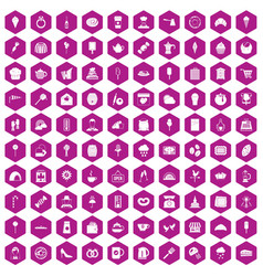 100 patisserie icons hexagon violet vector