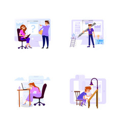 a set business scenes with tiny men and women vector image