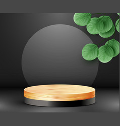 Abstract scene background cylinder wood podium vector