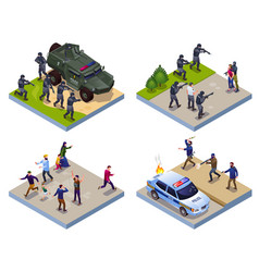 Antiterror special police forces and terrorists vector
