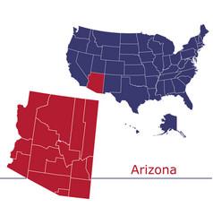 Arizona map counties with usa map vector