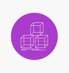 Arrange design stack 3d box white line icon in vector