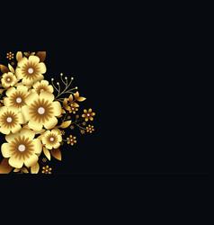 Attractive luxurious golden 3d flowers background vector