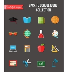 Back to school and education flat icons with vector