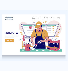 barista website landing page design vector image