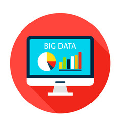 Big data computer flat circle icon vector