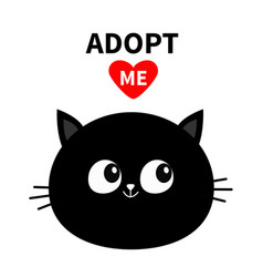 Black cat round face silhouette adopt me red vector