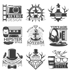Black Hipster Emblem Set vector image