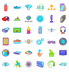 Broadcasting technology icons set cartoon style vector
