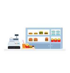 burgers salads and french fries on shelf with a vector image