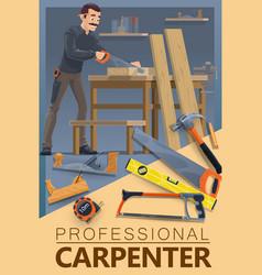 Carpentry woodwork carpenter man profession vector