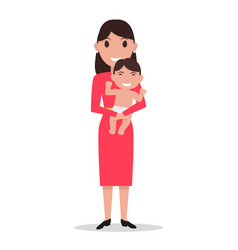 cartoon mother alone with a child vector image