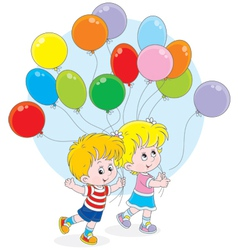 Children with colorful balloons vector image