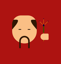 China man with mustache vector