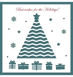 Christmas card template with laser cutting vector image