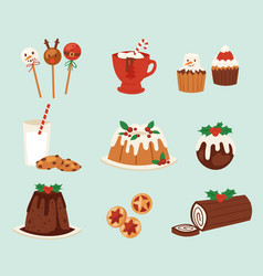 Christmas food desserts holiday decoration vector