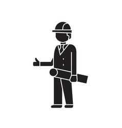 construction engineer black concept icon vector image