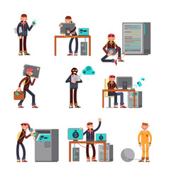 criminal hackers breaking computer bank accounts vector image