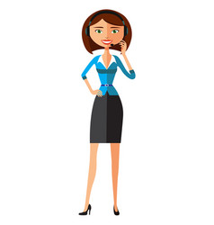 Customer service call center woman operator vector