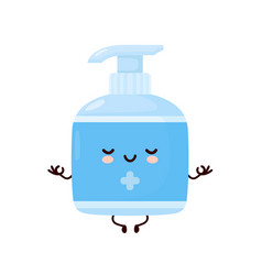 Cute happy smiling antiseptic bottle meditate vector