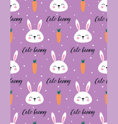 cute seamless pattern with bunny easter print vector image