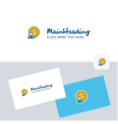 deadline logotype with business card template vector image