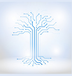 Digital tree made of circuits vector