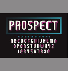 display font design with halftone shadow alphabet vector image