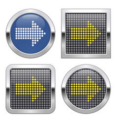 dotted icon right direction arrow on glossy vector image