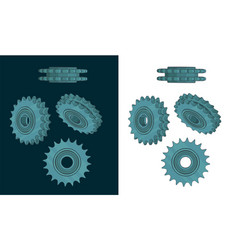 Double chain sprocket color drawings vector