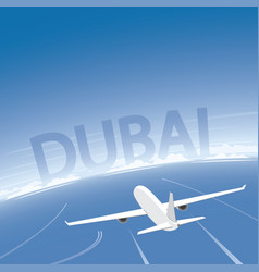 Dubai skyline flight destination vector