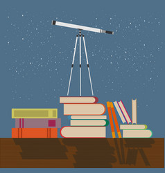 education future concept flat telescope stands on vector image