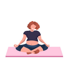 fat obese woman sitting lotus pose overweight girl vector image