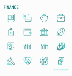 finance thin line icons set vector image