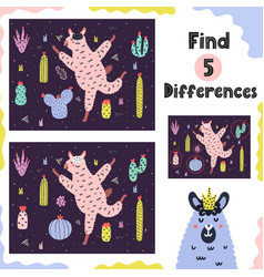 find 5 differences game for kids with funny alpaca vector image