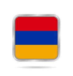 Flag of armenia shiny metallic gray square button vector