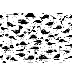 Funny dinosaurs seamless pattern for your design vector image