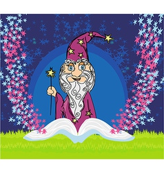 Funny wizard and magic book vector