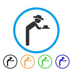 Gentleman servant rounded icon vector