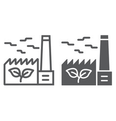 Green factory line and glyph icon ecology vector