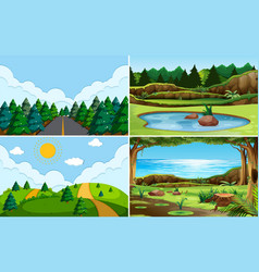 green nature view landscape vector image